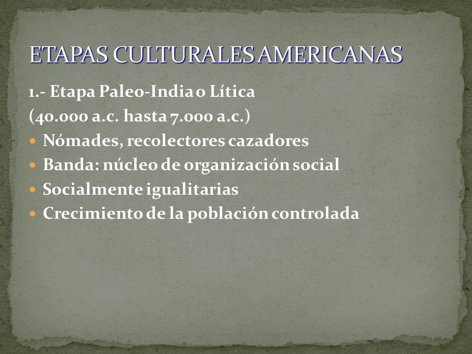 1.- Etapa Paleo-India o Lítica (40.000 a.c. hasta 7.000 a.c.) Nómades, recolectores cazadores Banda: núcleo de organización social Socialmente igualit
