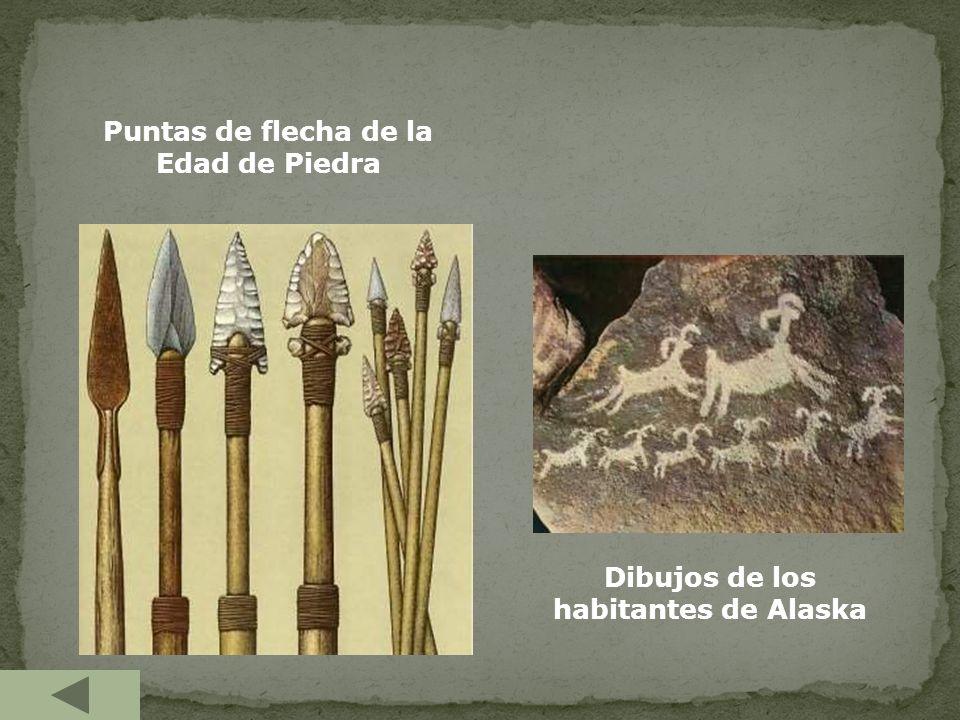 Puntas de flecha de la Edad de Piedra Dibujos de los habitantes de Alaska