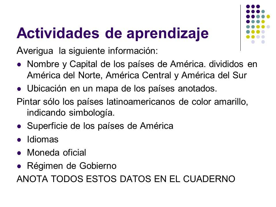 Actividades de aprendizaje Av erigua la siguiente información: Nombre y Capital de los países de América. divididos en América del Norte, América Cent