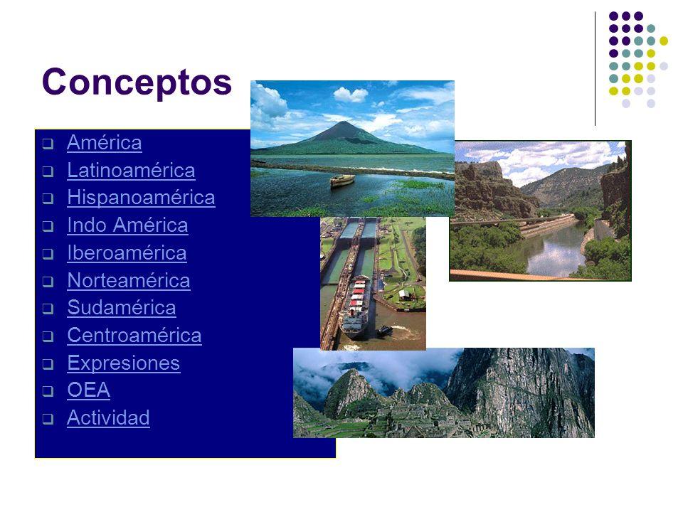 Conceptos América Latinoamérica Hispanoamérica Indo América Iberoamérica Norteamérica Sudamérica Centroamérica Expresiones OEA Actividad