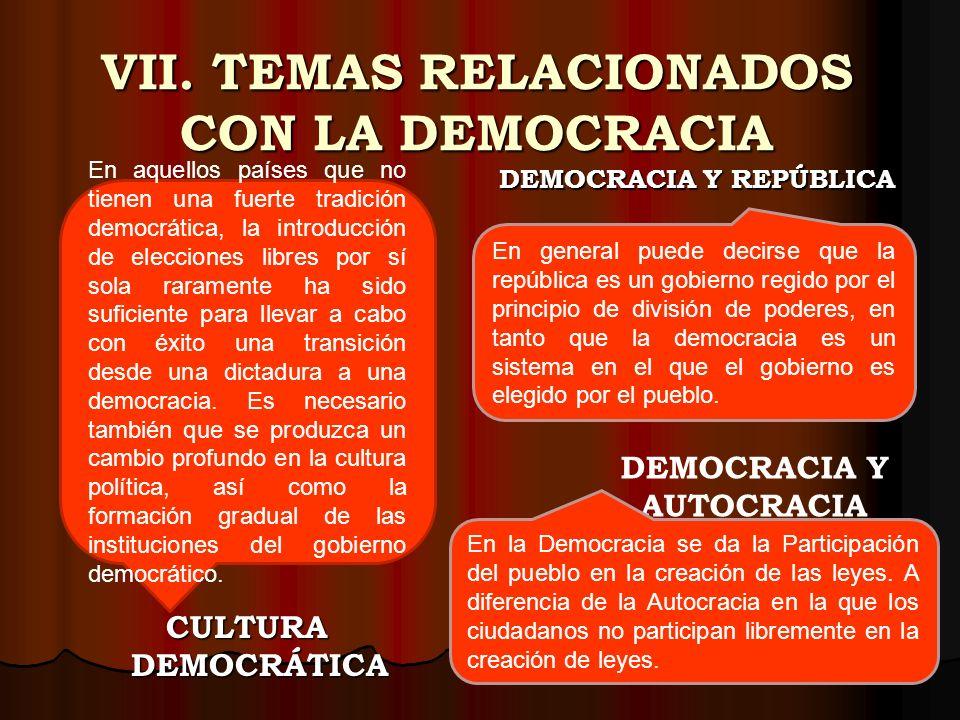 V. COMPONENTES DE LA DEMOCRACIA Así, aunque estrictamente el término