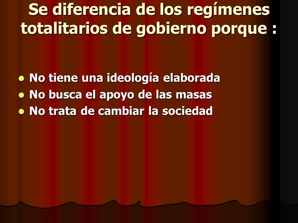 III. REGÍMENES AUTOCRÁTICOS CARACTERÍSTICAS En una dictadura, los líderes no se renuevan periódicamente por sufragio universal, libre, directo y secre