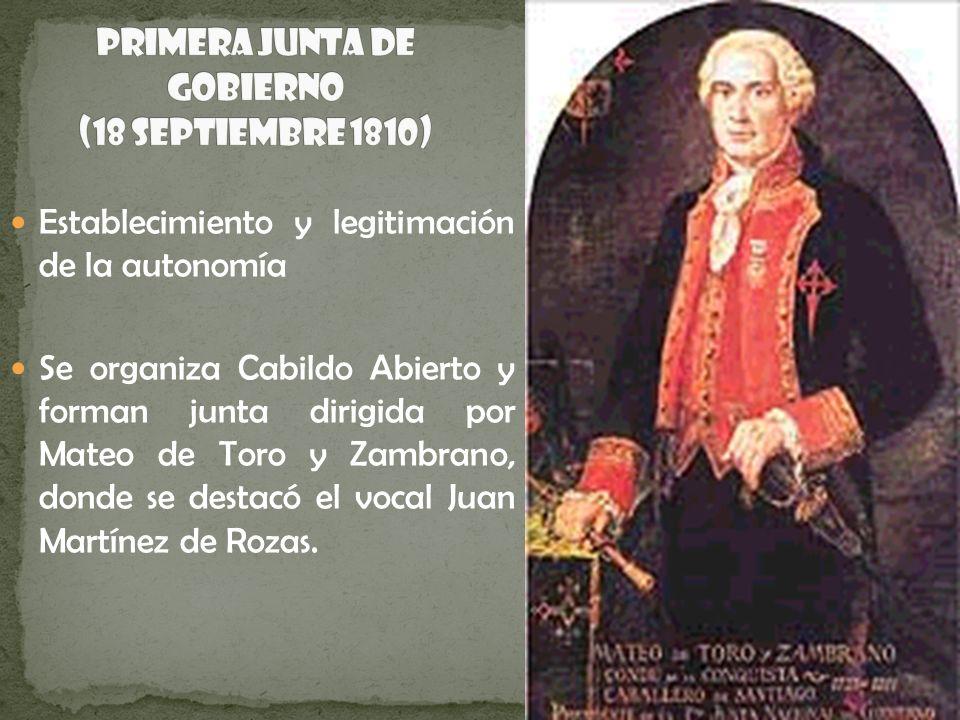 Establecimiento y legitimación de la autonomía Se organiza Cabildo Abierto y forman junta dirigida por Mateo de Toro y Zambrano, donde se destacó el v