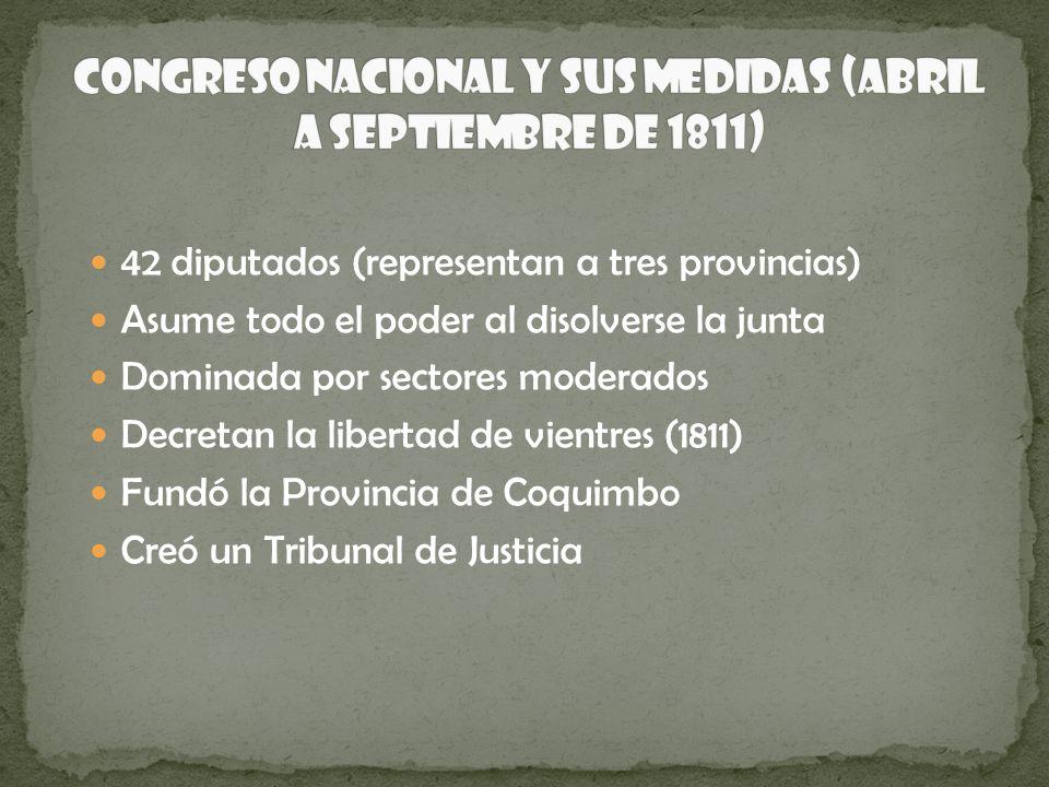 42 diputados (representan a tres provincias) Asume todo el poder al disolverse la junta Dominada por sectores moderados Decretan la libertad de vientr