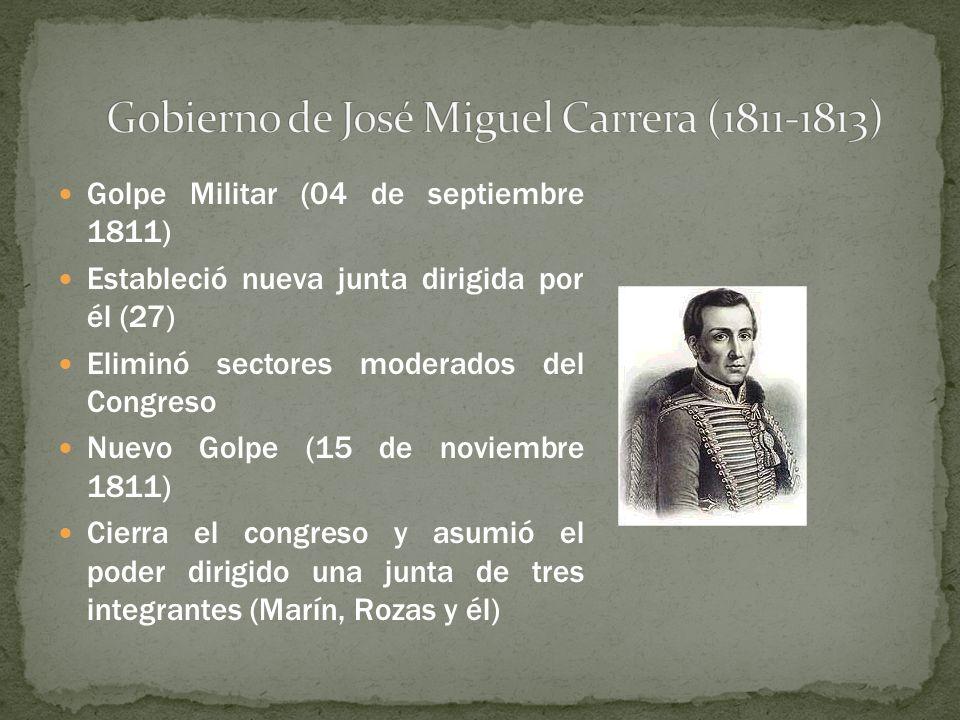Golpe Militar (04 de septiembre 1811) Estableció nueva junta dirigida por él (27) Eliminó sectores moderados del Congreso Nuevo Golpe (15 de noviembre
