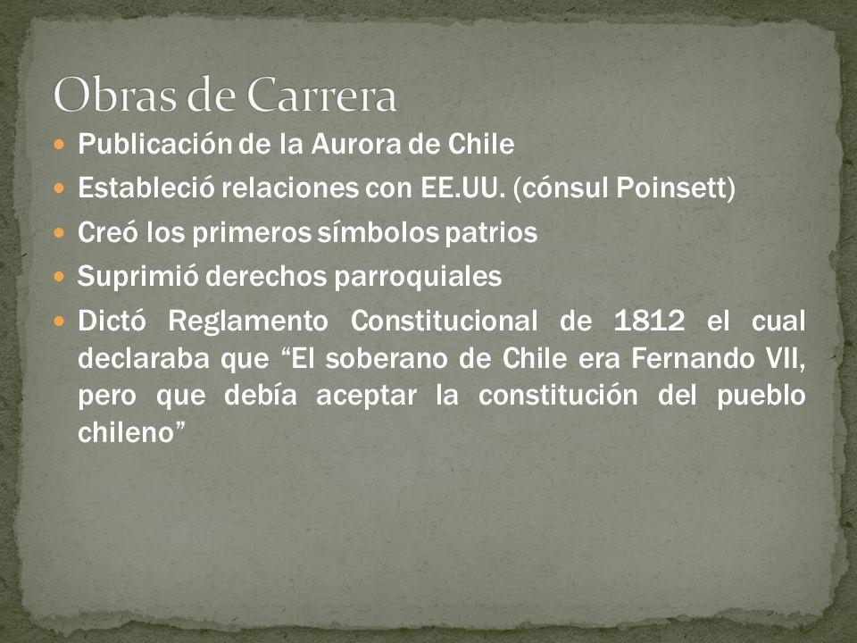 Publicación de la Aurora de Chile Estableció relaciones con EE.UU. (cónsul Poinsett) Creó los primeros símbolos patrios Suprimió derechos parroquiales
