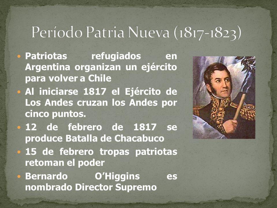 Patriotas refugiados en Argentina organizan un ejército para volver a Chile Al iniciarse 1817 el Ejército de Los Andes cruzan los Andes por cinco punt
