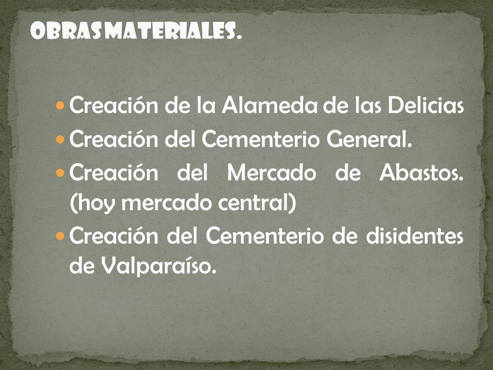 Creación de la Alameda de las Delicias Creación del Cementerio General. Creación del Mercado de Abastos. (hoy mercado central) Creación del Cementerio