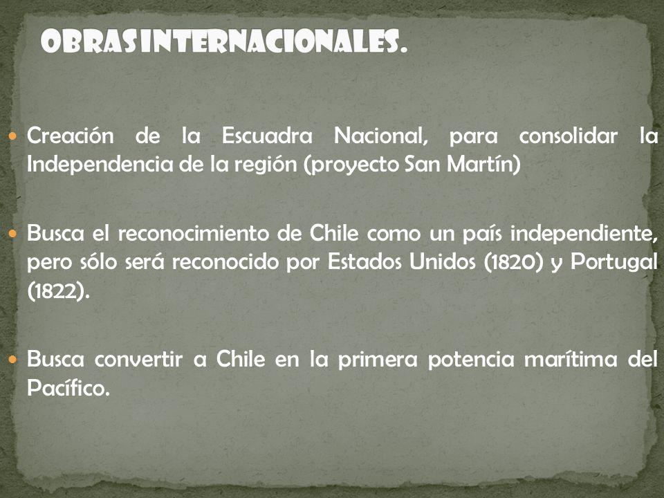 Creación de la Escuadra Nacional, para consolidar la Independencia de la región (proyecto San Martín) Busca el reconocimiento de Chile como un país in