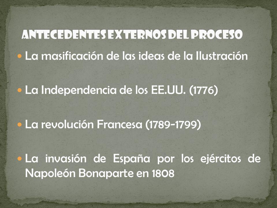 La masificación de las ideas de la Ilustración La Independencia de los EE.UU. (1776) La revolución Francesa (1789-1799) La invasión de España por los