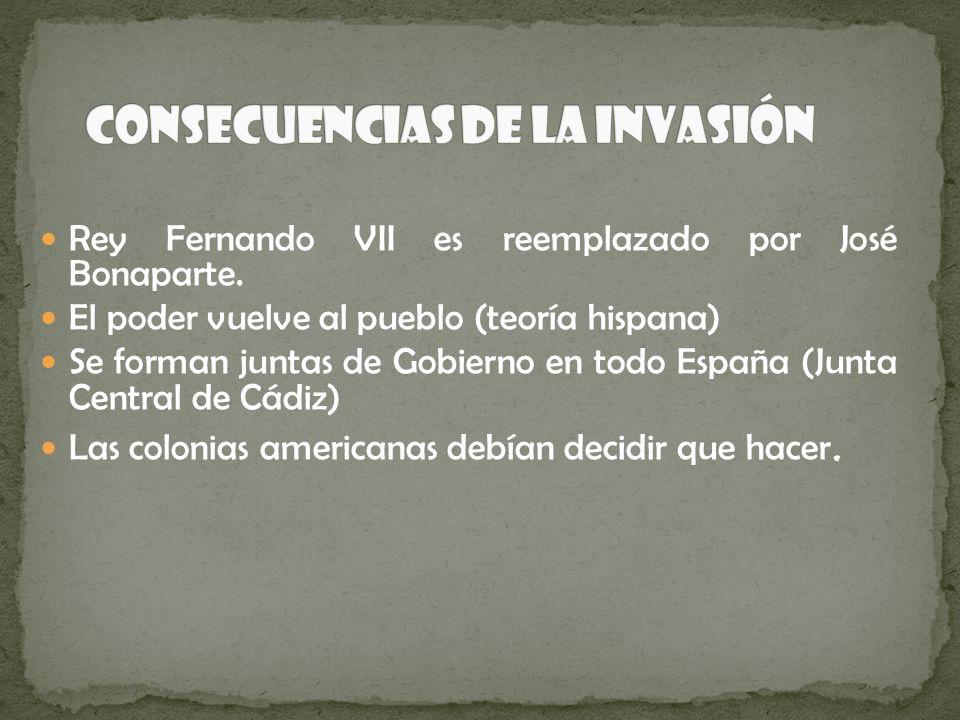Rey Fernando VII es reemplazado por José Bonaparte. El poder vuelve al pueblo (teoría hispana) Se forman juntas de Gobierno en todo España (Junta Cent