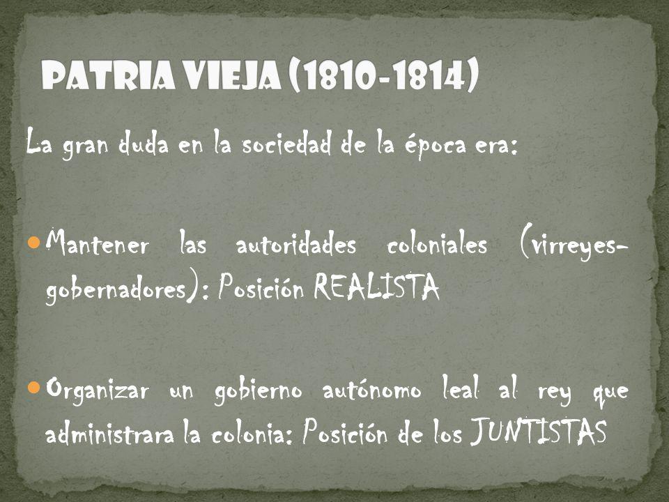 La gran duda en la sociedad de la época era: Mantener las autoridades coloniales (virreyes- gobernadores): Posición REALISTA Organizar un gobierno aut