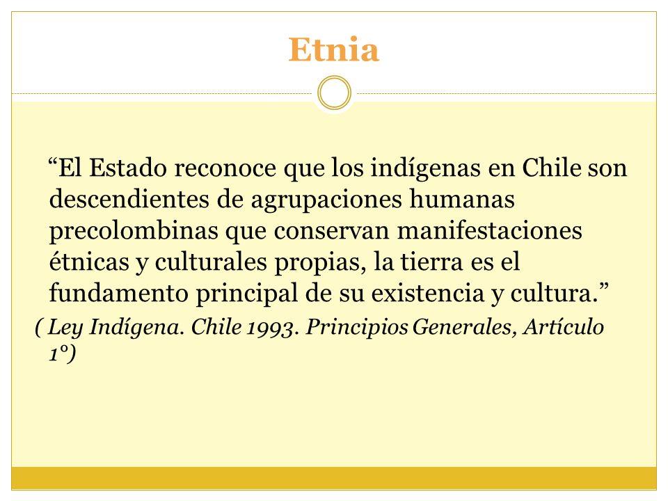 Etnia El Estado reconoce que los indígenas en Chile son descendientes de agrupaciones humanas precolombinas que conservan manifestaciones étnicas y cu