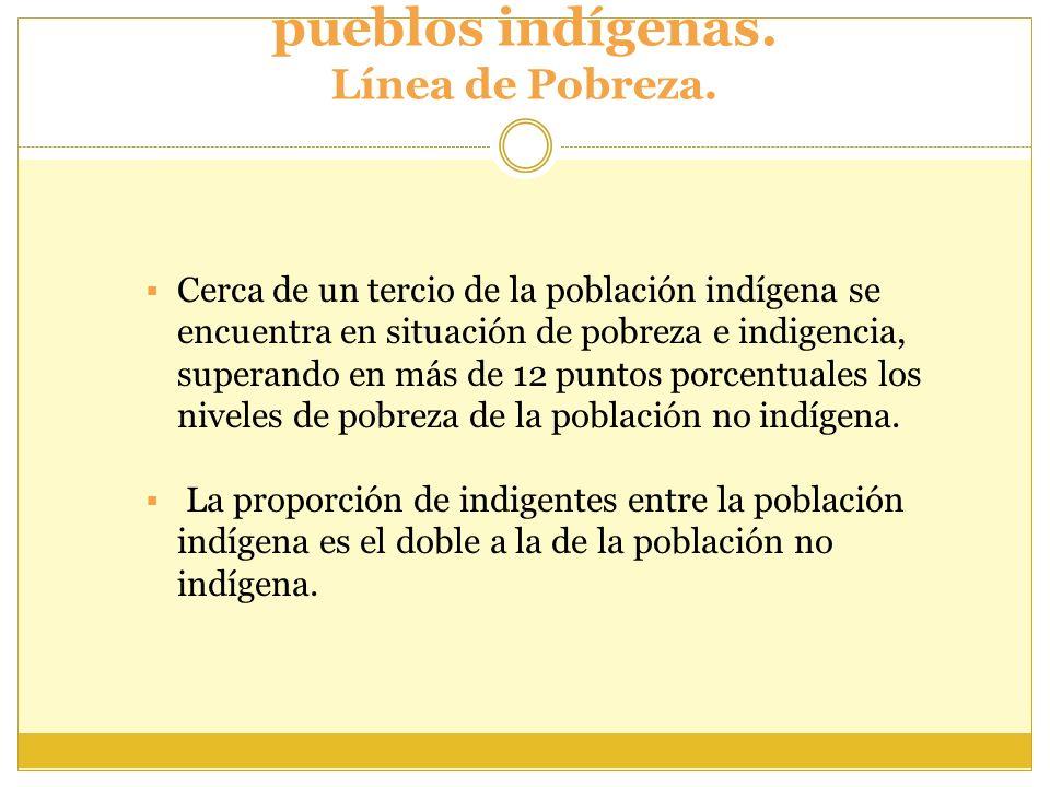 Situación de pobreza en los pueblos indígenas. Línea de Pobreza. Cerca de un tercio de la población indígena se encuentra en situación de pobreza e in