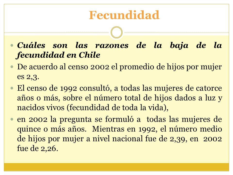 Fecundidad Cuáles son las razones de la baja de la fecundidad en Chile De acuerdo al censo 2002 el promedio de hijos por mujer es 2,3. El censo de 199