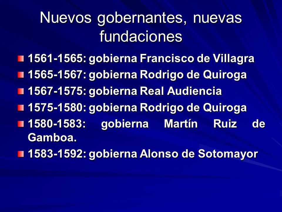Nuevos gobernantes, nuevas fundaciones 1561-1565: gobierna Francisco de Villagra 1565-1567: gobierna Rodrigo de Quiroga 1567-1575: gobierna Real Audie