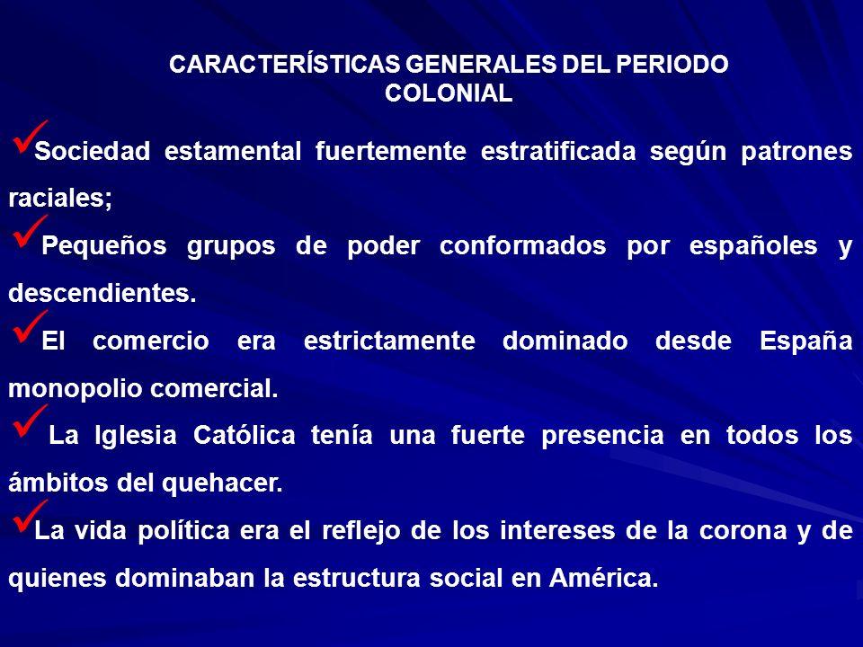 Sociedad estamental fuertemente estratificada según patrones raciales; Pequeños grupos de poder conformados por españoles y descendientes. El comercio