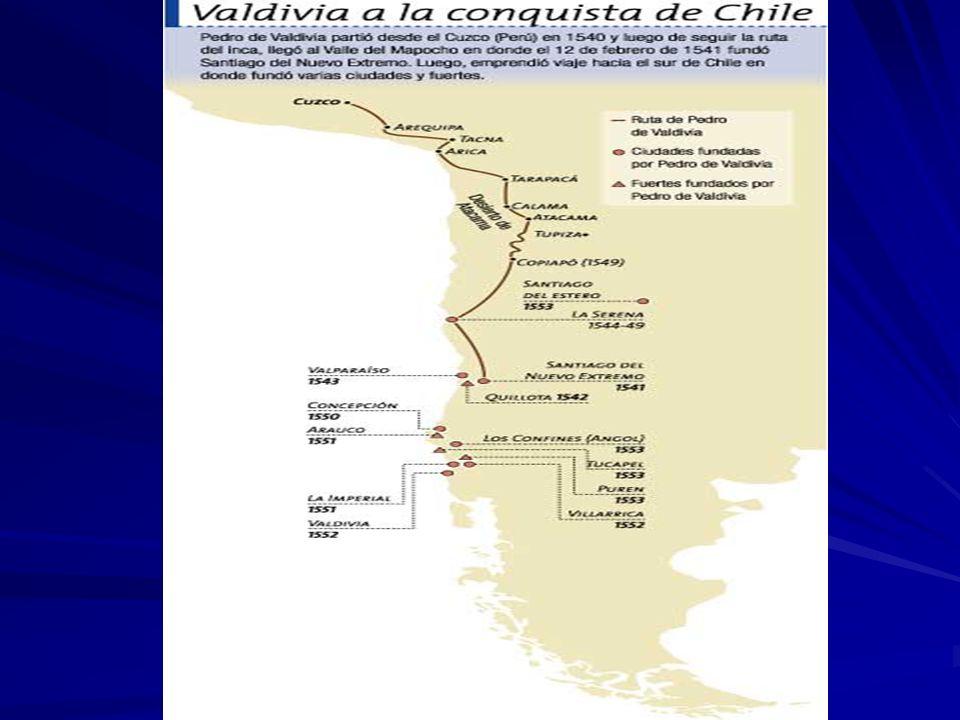 Resistencia Indígena a Valdivia 1541: Michimalonco incendió Santiago 1545: destrucción de La Serena 1553: Sublevación Mapuche dirigida por Lautaro.