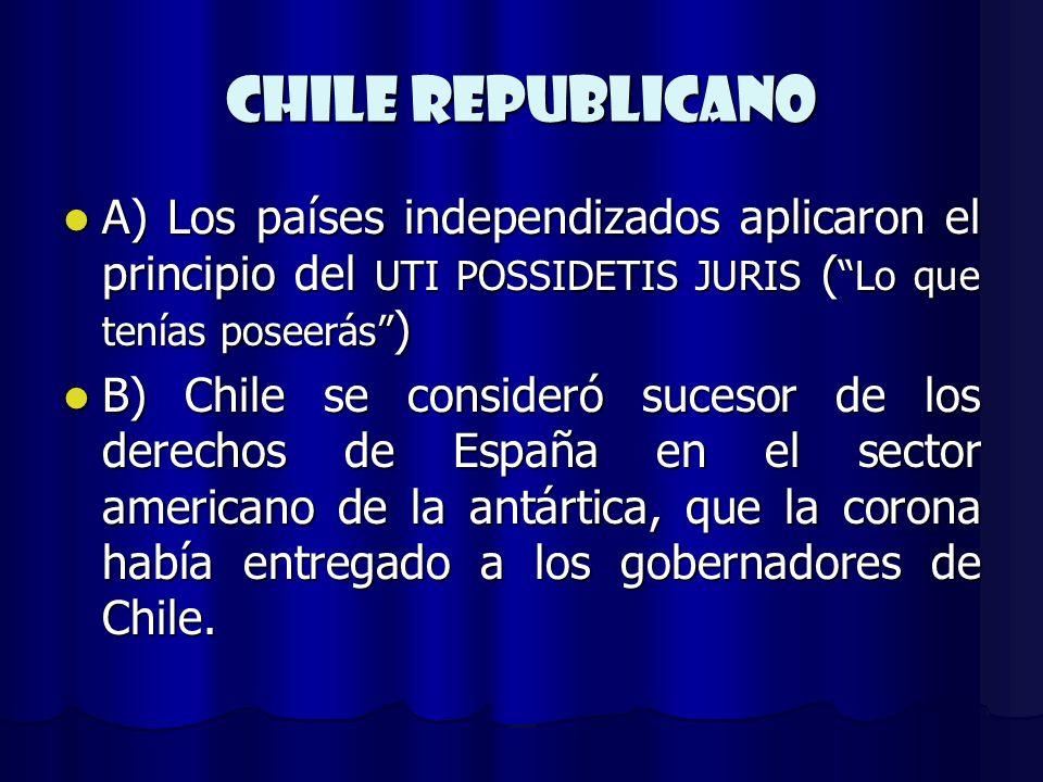 CHILE REPUBLICANO A) Los países independizados aplicaron el principio del UTI POSSIDETIS JURIS ( Lo que tenías poseerás ) A) Los países independizados