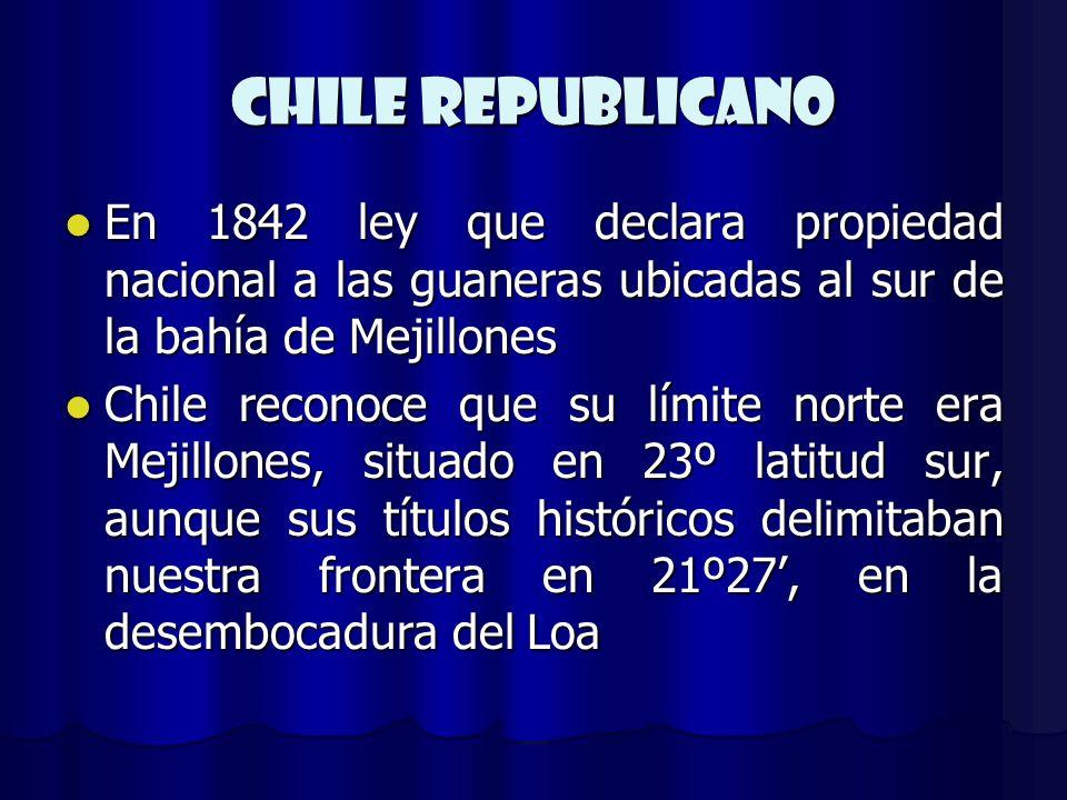 CHILE REPUBLICANO En 1842 ley que declara propiedad nacional a las guaneras ubicadas al sur de la bahía de Mejillones En 1842 ley que declara propieda