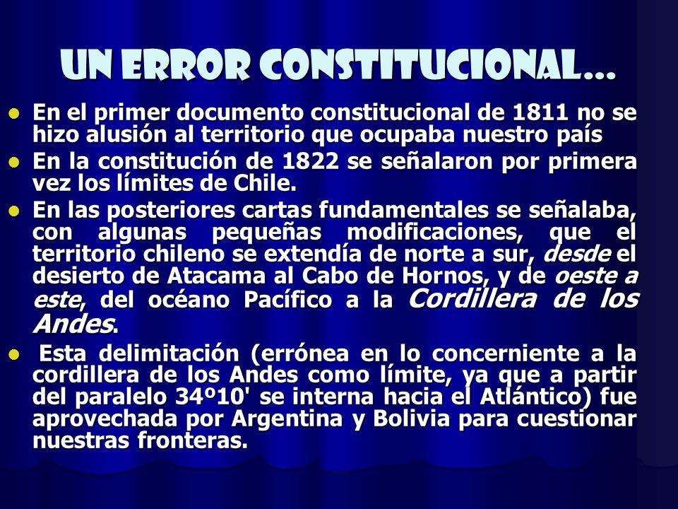 Un error constitucional… En el primer documento constitucional de 1811 no se hizo alusión al territorio que ocupaba nuestro país En el primer document
