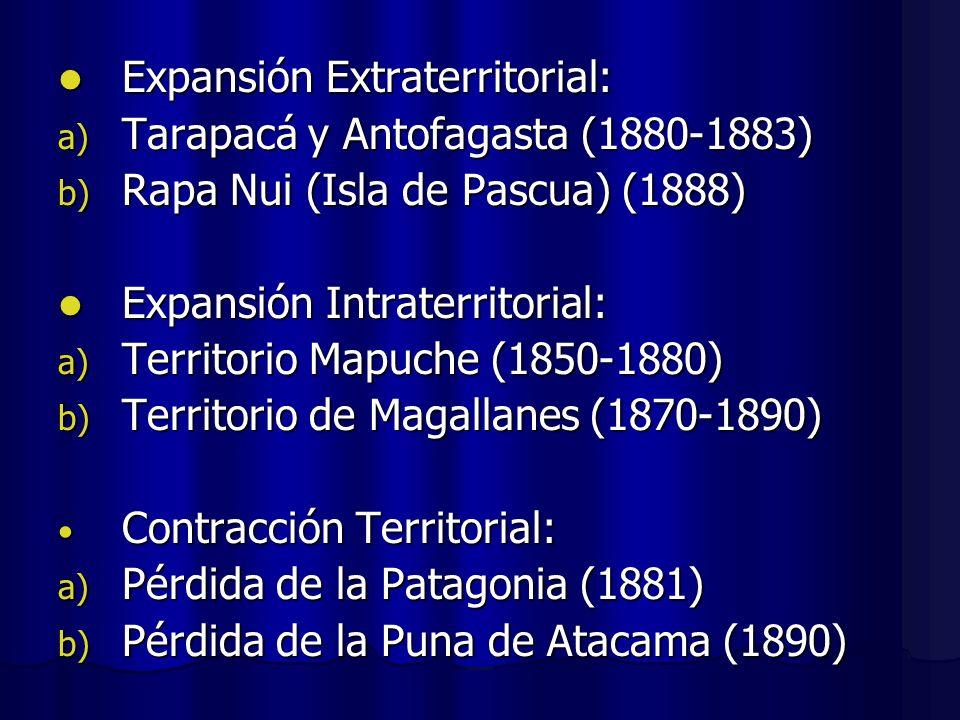 Expansión Extraterritorial: Expansión Extraterritorial: a) Tarapacá y Antofagasta (1880-1883) b) Rapa Nui (Isla de Pascua) (1888) Expansión Intraterri