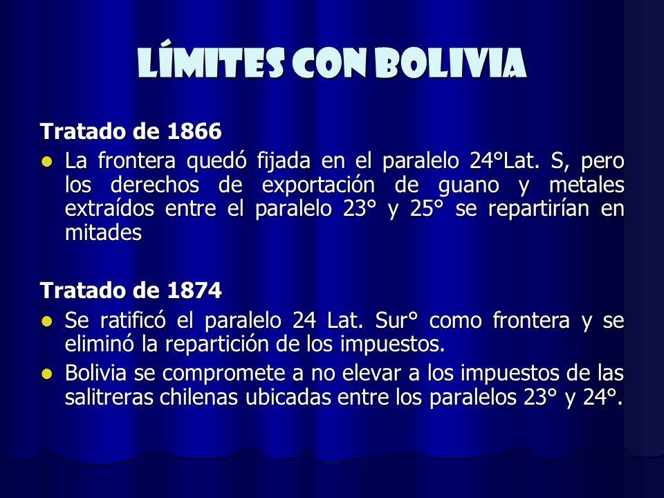 Límites CON BOLIVIA Tratado de 1866 La frontera quedó fijada en el paralelo 24°Lat. S, pero los derechos de exportación de guano y metales extraídos e