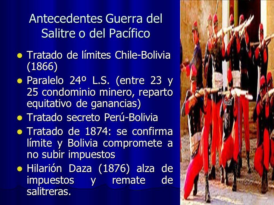 Antecedentes Guerra del Salitre o del Pacífico Tratado de límites Chile-Bolivia (1866) Tratado de límites Chile-Bolivia (1866) Paralelo 24º L.S. (entr