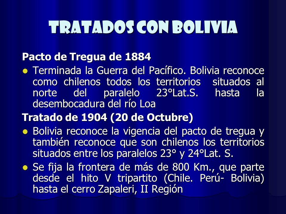 TRATADOs CON BOLIVIA Pacto de Tregua de 1884 Terminada la Guerra del Pacífico. Bolivia reconoce como chilenos todos los territorios situados al norte