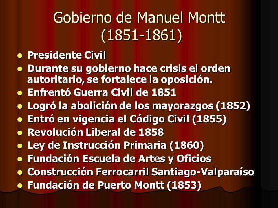 Gobierno de Manuel Montt (1851-1861) Presidente Civil Presidente Civil Durante su gobierno hace crisis el orden autoritario, se fortalece la oposición