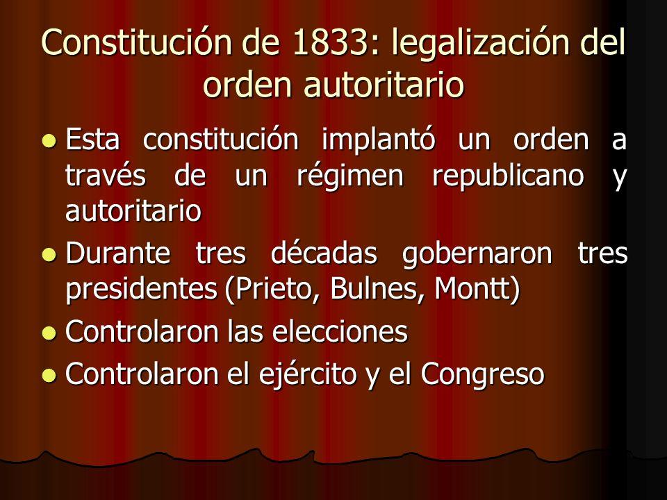 Constitución de 1833: legalización del orden autoritario Esta constitución implantó un orden a través de un régimen republicano y autoritario Esta con