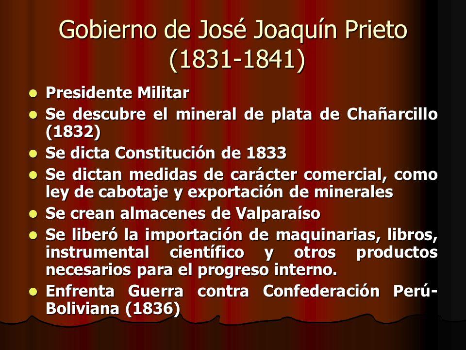 Gobierno de José Joaquín Prieto (1831-1841) Presidente Militar Presidente Militar Se descubre el mineral de plata de Chañarcillo (1832) Se descubre el