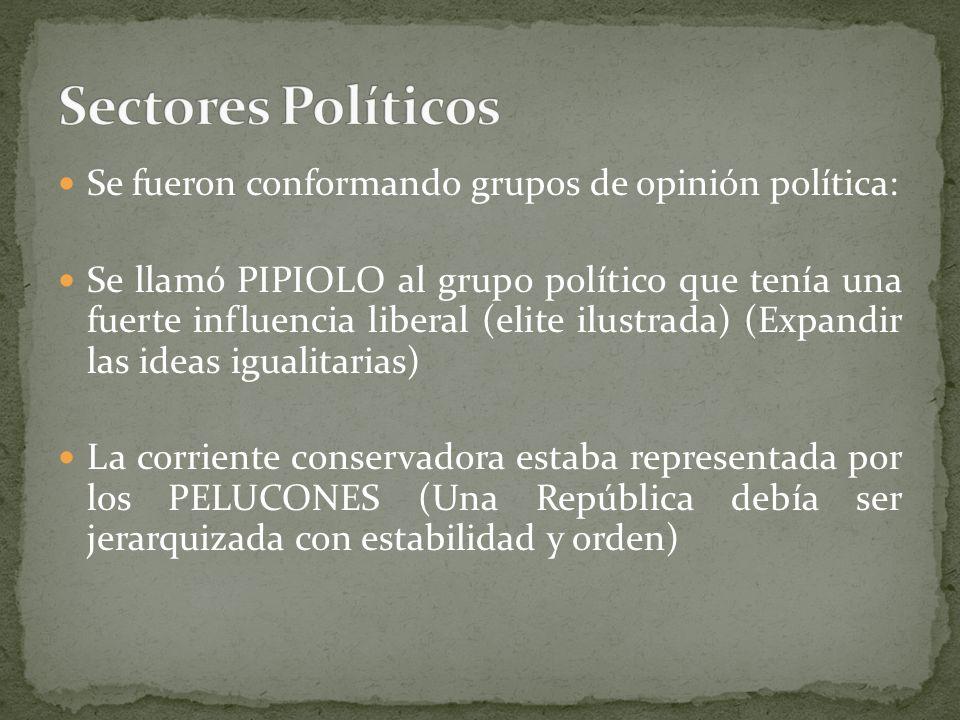 Se fueron conformando grupos de opinión política: Se llamó PIPIOLO al grupo político que tenía una fuerte influencia liberal (elite ilustrada) (Expand