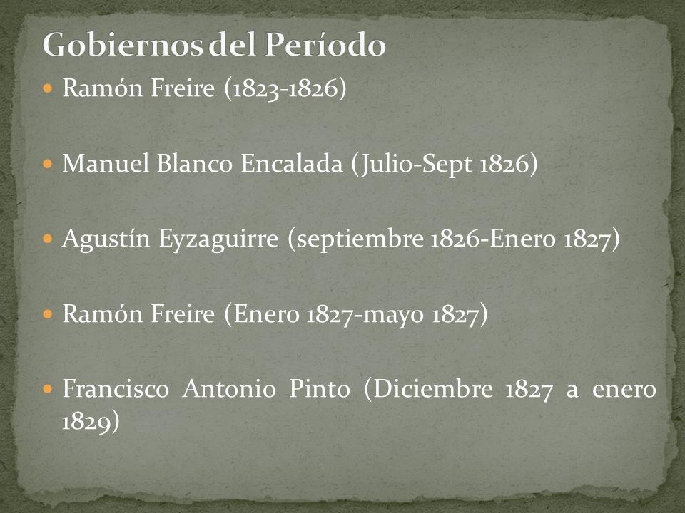 Ramón Freire (1823-1826) Manuel Blanco Encalada (Julio-Sept 1826) Agustín Eyzaguirre (septiembre 1826-Enero 1827) Ramón Freire (Enero 1827-mayo 1827)