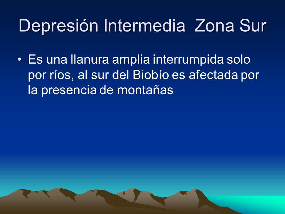 Depresión Intermedia Zona Sur Es una llanura amplia interrumpida solo por ríos, al sur del Biobío es afectada por la presencia de montañas