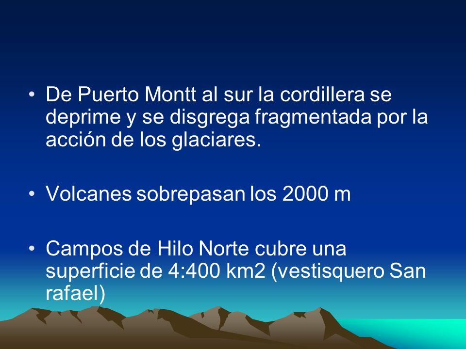 De Puerto Montt al sur la cordillera se deprime y se disgrega fragmentada por la acción de los glaciares. Volcanes sobrepasan los 2000 m Campos de Hil