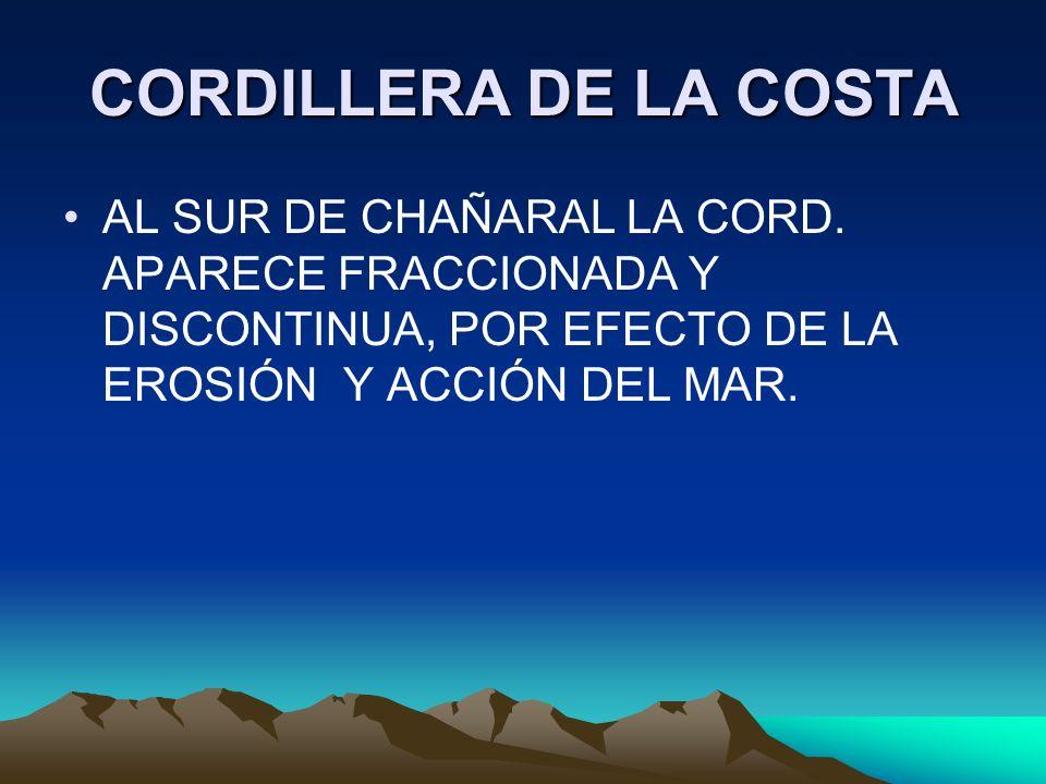 CORDILLERA DE LA COSTA AL SUR DE CHAÑARAL LA CORD. APARECE FRACCIONADA Y DISCONTINUA, POR EFECTO DE LA EROSIÓN Y ACCIÓN DEL MAR.