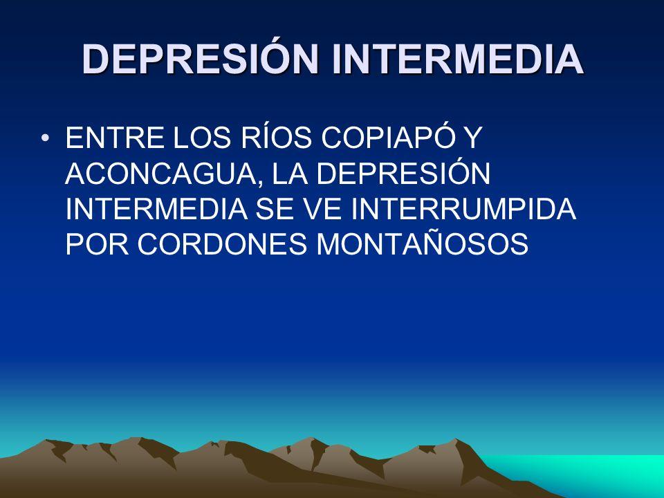 DEPRESIÓN INTERMEDIA ENTRE LOS RÍOS COPIAPÓ Y ACONCAGUA, LA DEPRESIÓN INTERMEDIA SE VE INTERRUMPIDA POR CORDONES MONTAÑOSOS