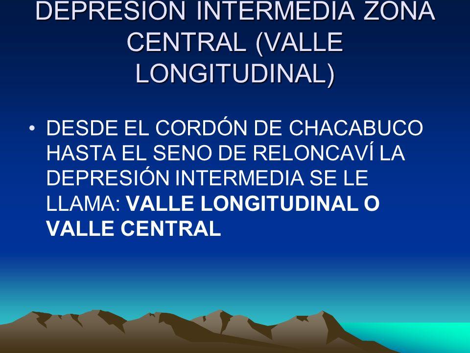 DEPRESIÓN INTERMEDIA ZONA CENTRAL (VALLE LONGITUDINAL) DESDE EL CORDÓN DE CHACABUCO HASTA EL SENO DE RELONCAVÍ LA DEPRESIÓN INTERMEDIA SE LE LLAMA: VA