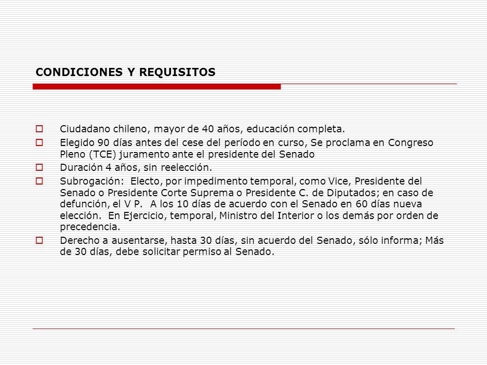 CONDICIONES Y REQUISITOS Ciudadano chileno, mayor de 40 años, educación completa. Elegido 90 días antes del cese del período en curso, Se proclama en