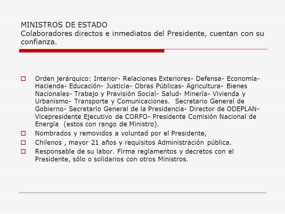 MINISTROS DE ESTADO Colaboradores directos e inmediatos del Presidente, cuentan con su confianza. Orden jerárquico: Interior- Relaciones Exteriores- D