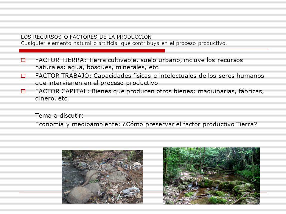 LOS RECURSOS O FACTORES DE LA PRODUCCIÓN Cualquier elemento natural o artificial que contribuya en el proceso productivo.