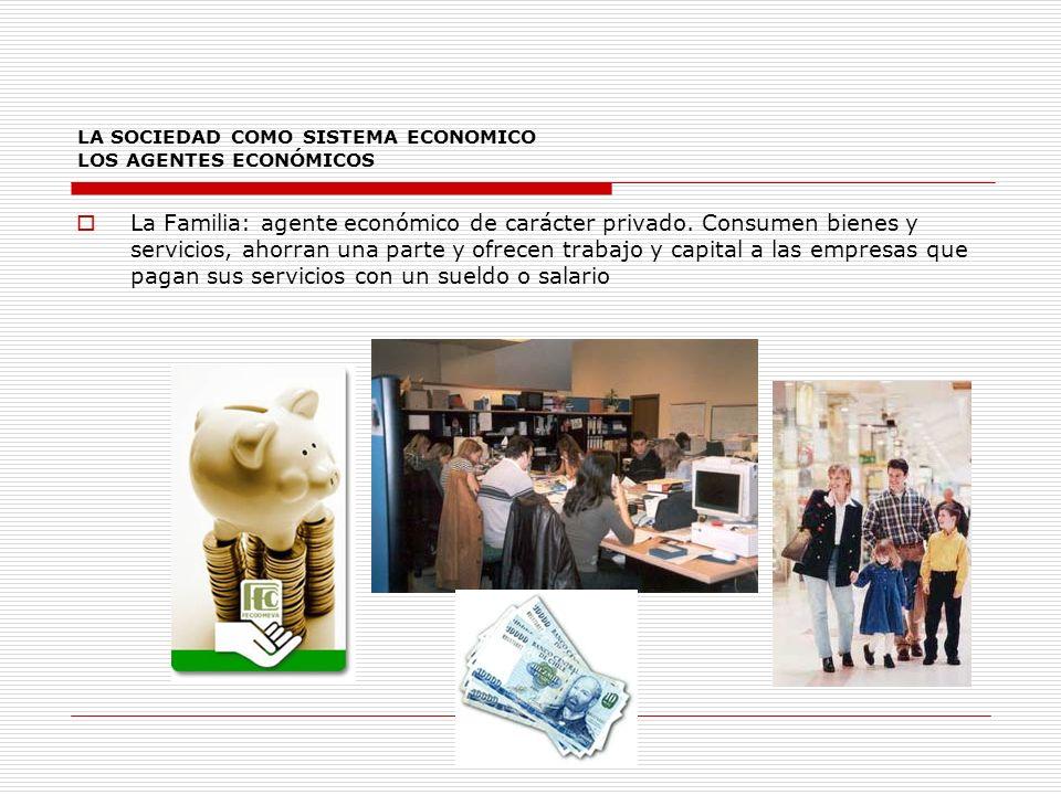 LA SOCIEDAD COMO SISTEMA ECONOMICO LOS AGENTES ECONÓMICOS La Familia: agente económico de carácter privado.