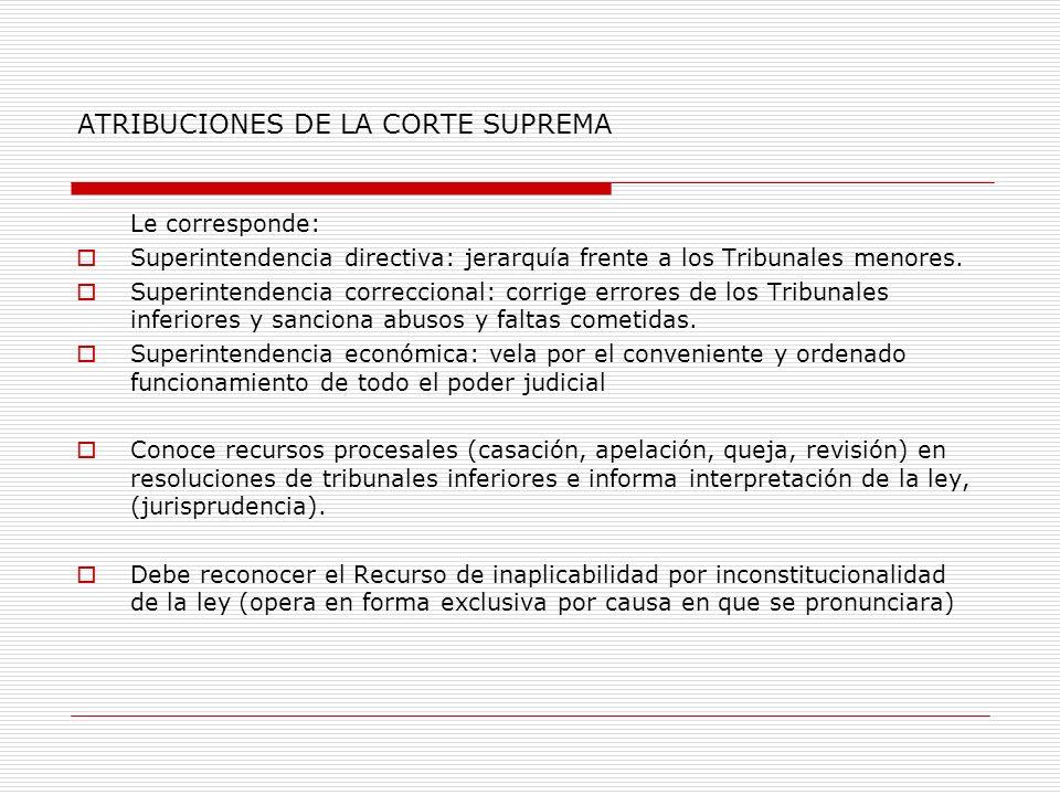 ATRIBUCIONES DE LA CORTE SUPREMA Le corresponde: Superintendencia directiva: jerarquía frente a los Tribunales menores. Superintendencia correccional: