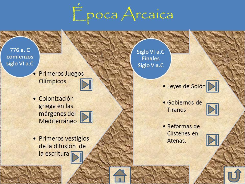 Época Arcaica Primeros Juegos Olímpicos Colonización griega en las márgenes del Mediterráneo Primeros vestigios de la difusión de la escritura 776 a.