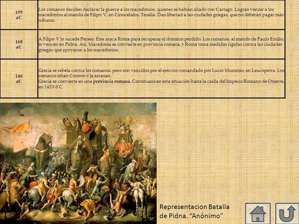 199 aC Los romanos deciden declarar la guerra a los macedonios, quienes se habían aliado con Cartago.