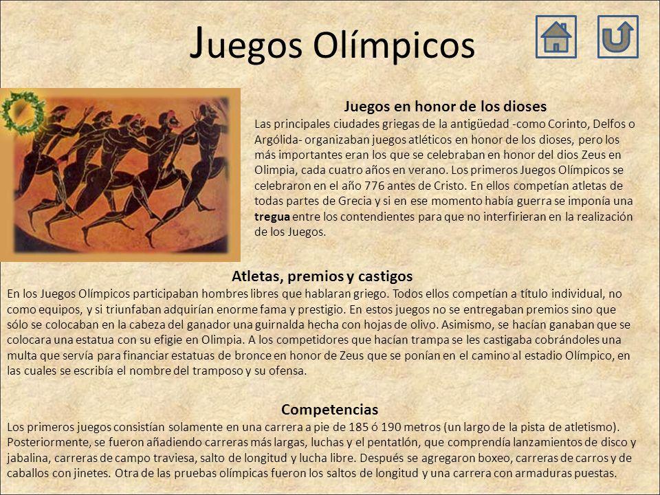 J uegos Olímpicos Juegos en honor de los dioses Las principales ciudades griegas de la antigüedad -como Corinto, Delfos o Argólida- organizaban juegos atléticos en honor de los dioses, pero los más importantes eran los que se celebraban en honor del dios Zeus en Olimpia, cada cuatro años en verano.