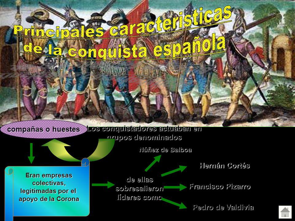 Los conquistadores actuaban en grupos denominados compañas o huestes de ellas sobresalieron líderes como Núñez de Balboa Hernán Cortés Francisco Pizar