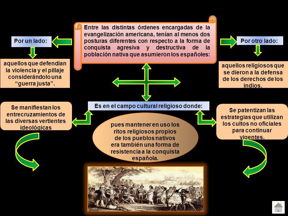 Evangelización de América Entre las distintas órdenes encargadas de la evangelización americana, tenían al menos dos posturas diferentes con respecto