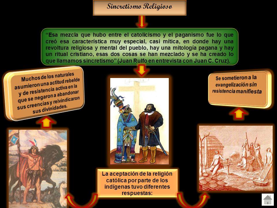 La aceptación de la religión católica por parte de los indígenas tuvo diferentes respuestas: Sincretismo Religioso Esa mezcla que hubo entre el catoli